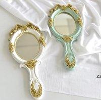 Maquillage à la main Miroir Miroir Chaussures Chaussures Chauffage Miroirs Vanity Miroirs Ovale Tenir Miroirs cosmétiques avec poignée pour cadeaux HWE8853