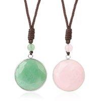 Natural Stone Crystal Necklace Summer 2021 Round Pendant Black Tiger Eye Green Aventurine Pink Quartz Collar Collier