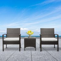 Outdoor rattan table chair set courtyard combination Park leisure suit negotiation balcony SOFA BLACK household furniture