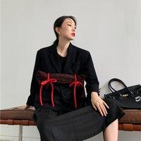 Women's Jackets Designer Bow Tweed Blazer Coat Black Tie Kawaii Winter Wool Coats And Women Korean Fashion Clothing YOBD