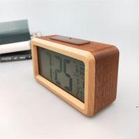 Wooden Digital Alarm Clock,Sensor Night Light With Snooze Date Temperature Clock LED Watch Table Wall Clocks AHA5497