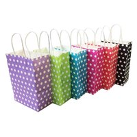 Gift Wrap 10PCS Paper Bag Polka Dot Kraft With Handles Sale Festival Bags DIY Multifunction Shopping