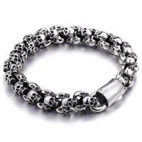 Fashion retro gold skull bracelets big style men charm stainless steel bracelet jewelry for men ps2464