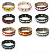 New Softball Baseball Leather wrap Bracelet Men's Sports Snap Closure Wristband Bangle For women Fan Jewelry in Bulk wjl4125