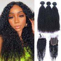 Brezilyalı Afro Kinky Kıvırcık İnsan Saç Örgüleri 3x4 Dantel Kapatma Bleach Knot Kapakları ile 3 Demetleri