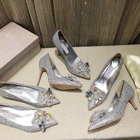 Scarpe da sposa in cristallo di cristallo di cristallo di alta qualità con il tacco alto in pelle con tacco alto fiore grande taglia 34-42