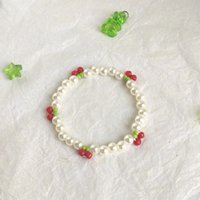 Charm Bracelets Bohemian Korean Bead Cherry Bracelet For Women Girls Cute Imitation Pearl Floral Handmade Jewelry