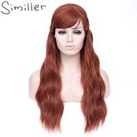 Synthetische Perücken Similler curly lang für Frauen Cosplay Haar mit Pony Braid Hochtemperaturfaser dunkelorange Perücke 70 cm