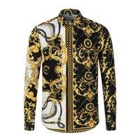 2021 Совершенно новые дизайнеры Мужские Пластические Рубашки Мода Повседневная Рубашка Мужчины Высококачественные Рубашки Золотой Цветочный Распечатать Slim Fit Thirts