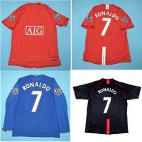 タイ07 08 Ronaldo Retro Jersey Classic Vintage Scholes Soccer Jerseys 2007 2008ルーニーフットボールシャツGiggs Maillot de Foot