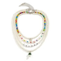 Yamog Women Glass Mushroom Butterfly Pendant Necklaces Female Imitation Pearl Acrylic Beaded Clavicle Chains Multi Layer Letter Animal Necklace Accessories