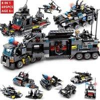 8Pcs lot 695Pcs City SWAT Truck House Ship Building Blocks Sets Command Vehicle Car Bricks Eonal Toys for Children 210901