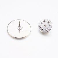 10st mässing Broschfynd Flat Round Silver Lapel Pin Backs Cabochons Basinställningar DIY Smycken Making 19.5mm X1.8mm PIN: 1mm