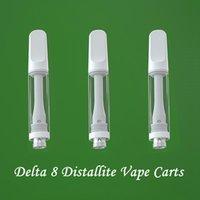Delta 8 Empty Vape Pen Cartridges Full Ceramic Vapes Carts Atomizer Lead Free 510 Thread Cartridge Packaging 1ML E-Cigarettes for Thick Distallite Oil Vaporzier Pens