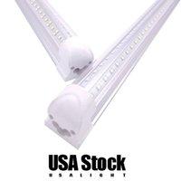 Integrated T8 Fluorescent Lamp 4ft 5ft 6ft 8ft 8 Feet LED Tube Light V Shape Fixtures 144W 4 Rows AC85-277V 14400 Lumens AC 110-277V USALIGHT