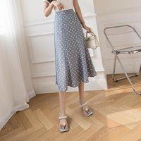 2021Summer Wave Point Korean-style A-line Skirt High-waist Womens Elegant Skirts Evening Dress
