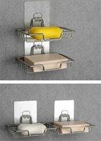 الجملة الفولاذ المقاوم للصدأ صحن الصابون حامل مع ملصق رف صينية الذاتي الساخرة سلة الإسفنج حمام المطبخ
