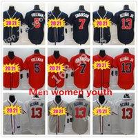 2021 Мужчины Женщины Дети Молодежь 13 Рональд Акуна JR Бейсбол Бейсбол 7 Фредди Фримен Хельс Джерси Джерси Джерси Джерси