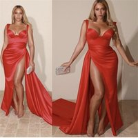 Orta Doğu Dubai Seksi Kırmızı Mermaid Gelinlik Modelleri Spagetti Sapanlar Sevgiliye Yüksek Yan Bölünmüş Kat Uzunluk Örgün Parti Abiye L0312