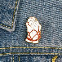 합금 오일 드롭 에나멜 브로치 바인딩 아트 성능 핀 여성 남성 남성 핸드 묶음 스커트 의류 배지 액세서리