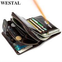 Wallets WESTAL Men's Wallet Genuine Leather Purse For Men Name Engraving Holdercoin Clutch Bag Couple Design 856