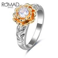 Wedding Rings ROMAD 2021 Gold&Silver Open Rose Flower Women Ring Jewelry Fashion Elegant Female Anniversary Finger Leaf 6-8