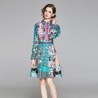 Autumn Runway Floral Print Bow Tie Collar Shirt Dress Vintage Long Sleeve High Waist Multicolor Female Mini Pleated Dress