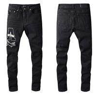 Мода Skinny Badge Black Mens Jeans Повседневная Тонкий Хипхоп Жан Выбор Высокое Качество Небольшие Ноги Джинсовые штаны Размер 28-40