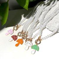Chains Elegant Imitation Pearl Beaded Choker Necklaces Handmade Enamel Crystal Mushroom Pendant Necklace For Women Girls Gift Jewelry
