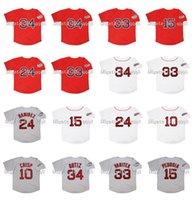 2004 레트로 매니 라미레즈 저지 2007 데이비드 34 ortiz 15 Dustin Pedroia 33 Jason Varitek 10 코코 파삭 한 빨간색 흰색 회색 빈티지 야구 유니폼