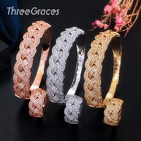 Earrings & Necklace ThreeGraces Luxury Geometric African Gold Bangles Jewelry CZ Stone Big Open Rings Set For Brides Wedding Par