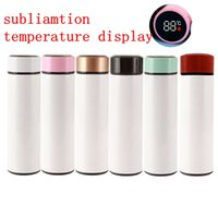 Sublimation Water Bottle With LED Touch Display Temperature 500ml Straight Tumbler Stainless Steel Vacuum Coffee Mug Fetival Party Gift WLL1038