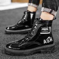 Comfortable Man's Casual Ankle Boots Black PU Leather High Top Lace-Up Sneakers Outdoor Fashion Men Zapatos Martin Booties