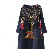 Women Womens Dresses Vintage Corduroy Ethnic Print Patchwork Long Sleeve Pockets Loose Dress Plus Size Chiffon Formal Mother