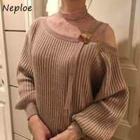 NEPLOE 2021 Sexy Lace Ombro Sem Altais All-Match Sweaters Primavera Outono Solta Malha Malha Mulheres Pullovers Estilo Japão Pull Femme Mulheres