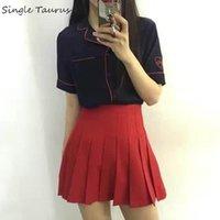 Faldas Preppy Falda Plisada Mujer Moda Streetwear Una línea Tenis High Cintura Coreana Color Sólido Rojo Rosa Rosa Mini Jupe Femme