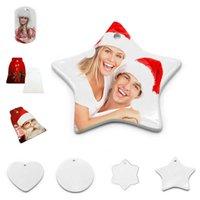 Mode Kerstdecoratie 6 stijlen van creatieve DIY sublimatie blanco keramische hanger thermische transfer sieraden groothandel