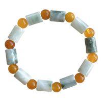 Abalorios, hebras al por mayor Pulsera de piedra natural Pulsera Balleza con pulseras de cristal redondas amarillas para mujeres Joyería de moda fresca de regalo