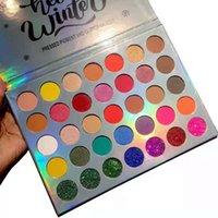 Premium impermeable mate brillo pigmento pigmento maquillaje 35 colores iluminar la paleta de sombra de ojo de polvo prensado natural fácil de usar DHL gratis