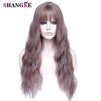 Shangke Long Mix Purple Womens Wigs com Bangs Resistente ao calor Sintético Kinky Curly Rosa Perucas Verdes Para As Mulheres Afro-americano