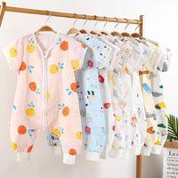 Baby Sleeping Bag Children's Split Leg Summer Clothes Thin Anti Kick Quilt Short Sleeved Bamboo Fiber Gauze Blankets & Swaddling
