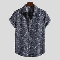 Men Fashion Ethnic Short Sleeve Casual Printing Hawaiian Blo...