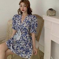 Casual Dresses Summer Sexy V-Neck Floral Dress Korean Style Short Sleeve Women Sweet Vestidos Femme Vestido De Mujer
