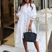 Mujeres elegantes Sundress Sundress Zanzea 2021 Vestido de camisa sólida Cintura Alta Cintura para hojaldas Vestidos cortos Femenino V Cuello Robe Plus Tamaño 7 Casual Dres