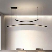 Pendant Lamps Nordic Restaurant Lamp Led Strip Light Modern Creative Personality Dining Table Bar Chandelier Geometric Line