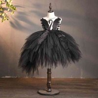 Girl's Dresses Black Flower Girl Swan Crystal Tulle Princess Pageant Wedding Clothes Kids Birthday Party Dress Evening Ball Gown C0223