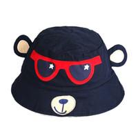 만화 원숭이 어린이 양동이 모자 소년을위한 순수 면화 모자 여름 모자 태양 보호 아기