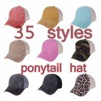 포니 테일 모자 35 색 씻어 메쉬 지저분한 롤빵 카모 표범 해바라기 야구 모자 야외 스포츠 트럭 모자 Cyz3185