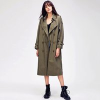 870114 # Original Desgeger Jazzevar 2020 가을 새로운 여성 캐주얼 트렌치 코트 오버 사이즈 더블 브레스트 빈티지 씻어 outwear 느슨한 의류