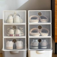 Clothing & Wardrobe Storage 3pc Thickened Plastic Shoes Case Basketball Dust-proof Home Organizer Box Combination Shoe Cabinet